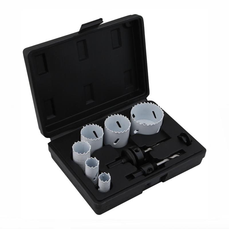 Kit de sierra de orificio bimetálico de 9 piezas (22-64 mm)